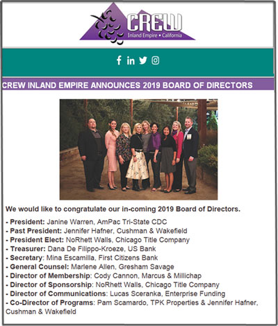 Commercial Real Estate Women (CREW) Inland Empire announced its 2019 Board of Directors with Gresham Savage Senior Counsel Marlene Allen Murray serving as General Counsel